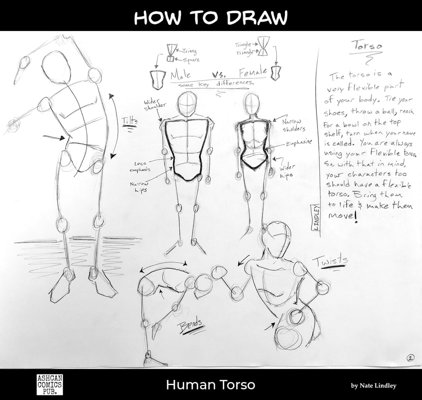Line drawings of basic shapes,  indicating flexible people in motion (human torso) by Nate Lindley.