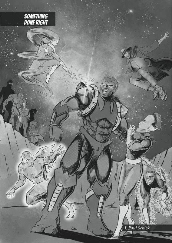 Artwork by J. Paul Schiek for SUPER, issue 1.  An indie comic book created by the Flash Fiction Force.  Published by Ashcan Comics Pub. (ACP Comics).