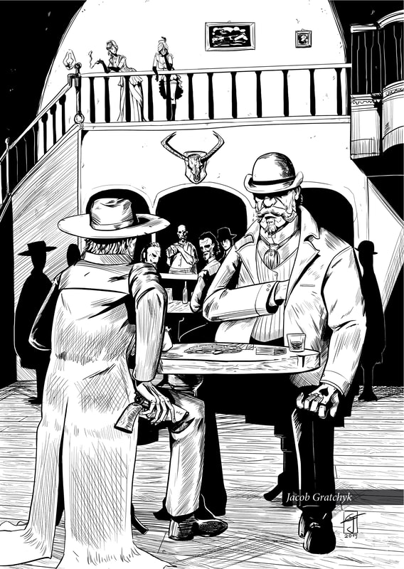 An art page of Warren playing poker with Mayor Dugan (art by Jacob Gratchyk).  A page from TRUTH, a shor story by Nate Lindley - an indie comic published by Ashcan Comics Pub.