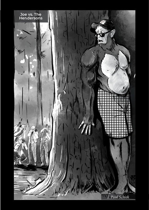 Artwork, Joe vs. The Hendersons, by J. Paul Schiek for Old School Monsters, issue 1.  An indie comic book created by the Flash Fiction Force.  Published by Ashcan Comics Pub. (ACP Comics).