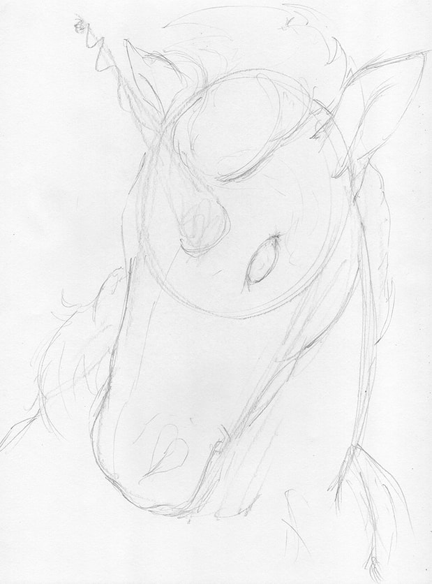Line drawing of improved shapes: how to draw a Unicorn by Nate Lindley.