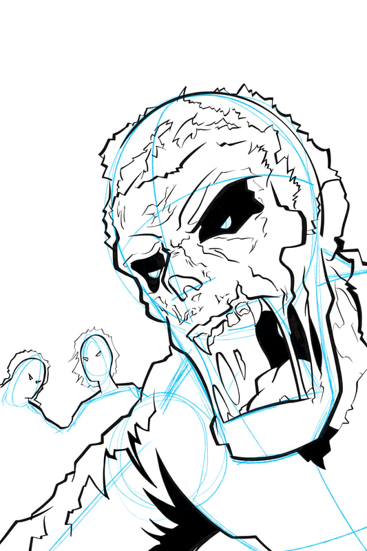 Step 2. Line drawing of the basic form: How to draw a monster (zombie, undead, ghoul)) by Nate Lindley.