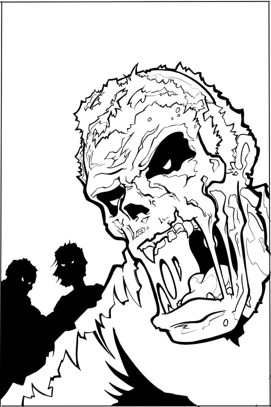 Step 3. Line Drawing of complex shapes: how to draw a monster (zombie,the undead, ghoul) by Nate Lindley.