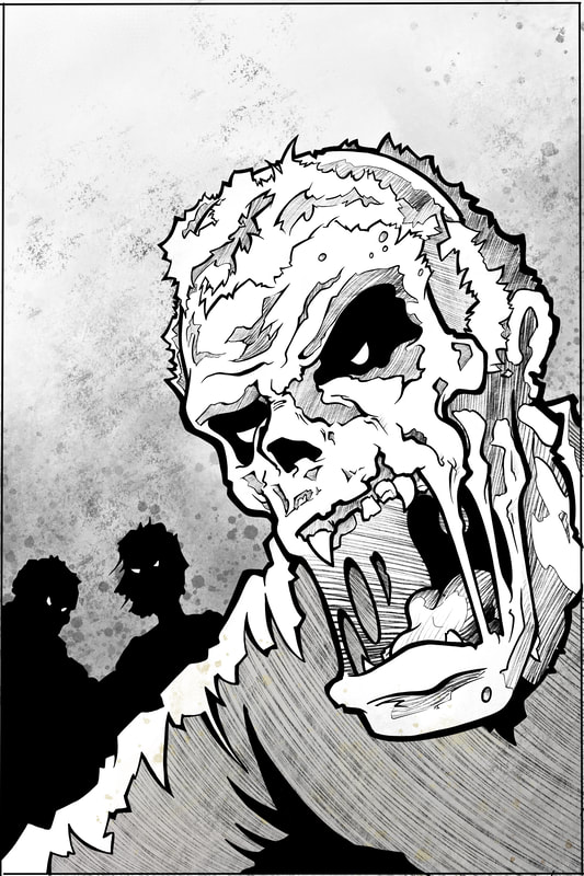 Step 4.  Fully rendered artwork: how to draw a monster (zombie, the undead, ghoul) by Nate Lindley.