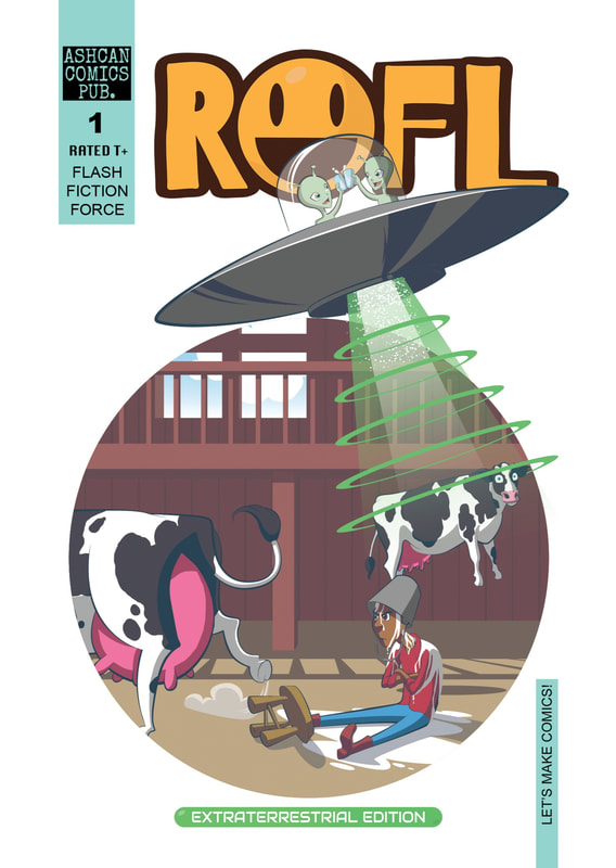 Cover Art, ROFL, by Mark Pate for ROFL, issue 1.  An indie comic book created by the Flash Fiction Force.  Published by Nate Lindley of Ashcan Comics Pub. (ACP Comics).