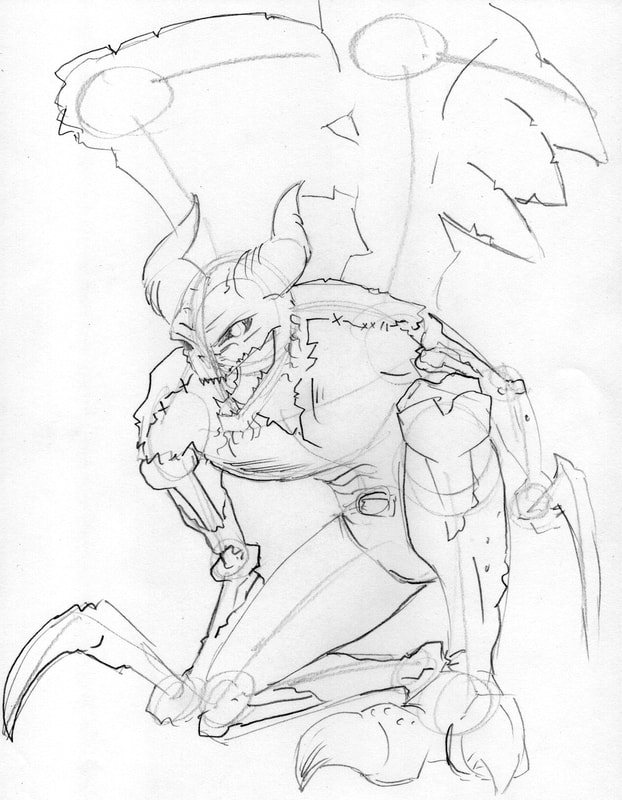 Line Drawing of complex shapes: how to draw a Demon Warrior by Nate Lindley.