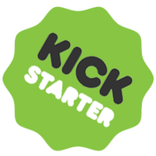 Picture of Kickstarter logo with link to Ashcan Comics Pub. Kickstarter account.